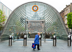 Exterior entrance to St Enoch Station on Glasgow underground system in Glasgow, Scotland, United Kingdom