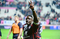 Joie Yannick NYANGA - 24.04.2015 - Stade Francais / Stade Toulousain - 23eme journee de Top 14<br />Photo : Dave Winter / Icon Sport