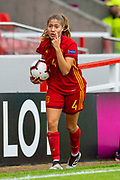 Laia Aleixandri (#4) of Spain during the UEFA Women's U19 European Championship match between England Women and Spain at Forthbank Stadium, Stirling, Scotland on 19 July 2019.