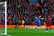 AS Roma goalkeeper Alisson Becker (1) watches helplessly as Liverpool striker Mohamed Salah (11) shot goes in to the top corner to make the score 1-0 during the Champions League semi final leg 1 of 2 match between Liverpool and Roma at Anfield, Liverpool, England on 24 April 2018. Picture by Simon Davies.
