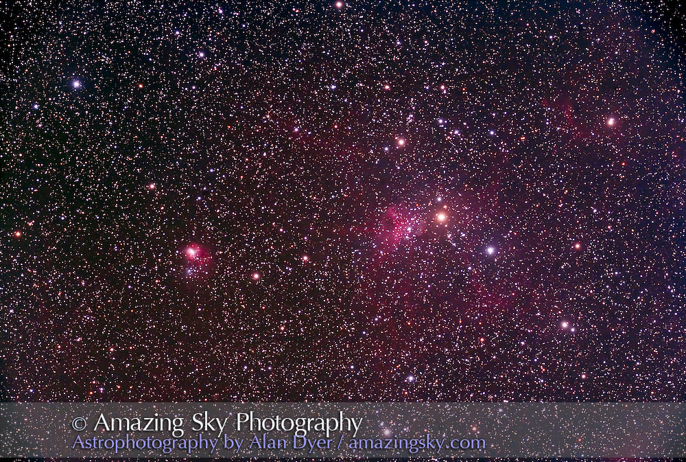IC 417 and NGC 1931 Nebula in Auriga with 5-inch AP apo refractor at f/6 and Hutech-modified Canon 5D camera. Stack of 4 x 14 minute exposures at ISO 400.