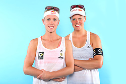 07.06.2016, Hamburg, GER, DVV Beachvolleyball, Fototermin, Nationalmannschaft, Olympische Spiele, Rio 2016, im Bild v.l. Britta Büthe und Karla Borger // f.l. Britta Buethe and Karla Borger of Germany during photocall of German Beach Volleyball team of German Cycling Federation for the Olympic games, Rio 2016. Hamburg, Germany on 2016/06/07. EXPA Pictures © 2016, PhotoCredit: EXPA/ Eibner-Pressefoto<br /> <br /> *****ATTENTION - OUT of GER*****