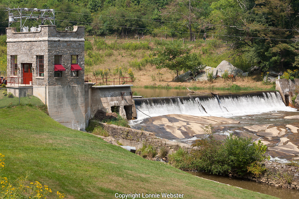 New River hydro electric dam in the Blue Ridge Mountains of Ashe County NC. 2007-08-29
