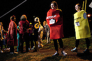 Sara Youder and Carly McMakin, in the ketchup and mustard costumes respectively, prepare for the the Run Like Hell 5k on Saturday, October 20, 2012. All proceeds benefited the Cystic Fibrosis Foundation. Photo by Chris Franz