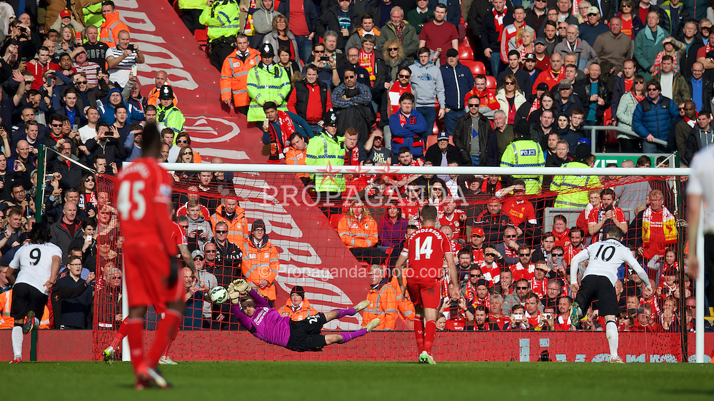 LIVERPOOL, ENGLAND - Sunday, March 22, 2015: Liverpool's goalkeeper Simon Mignolet saves a penalty kick from Manchester United's Wayne Rooney during the Premier League match at Anfield. (Pic by David Rawcliffe/Propaganda)