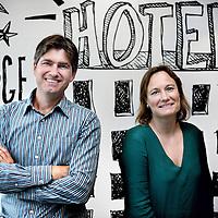 Nederland, Amsterdam , 26 september 2014.<br /> Booking.com  Topvrouw Gillian Tans en oprichter Geert Jan Bruinsma<br /> Foto:Jean-Pierre Jans