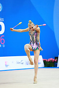 Moustafaeva Kseniya of France competes during the Rhythmic Gymnastics Individual clubs final of the World Cup at Adriatic Arena on April 3, 2016 in Pesaro, Italy. She  is a French individual rhythmic gymnast of Belarusian origin born in Minsk in 1994.
