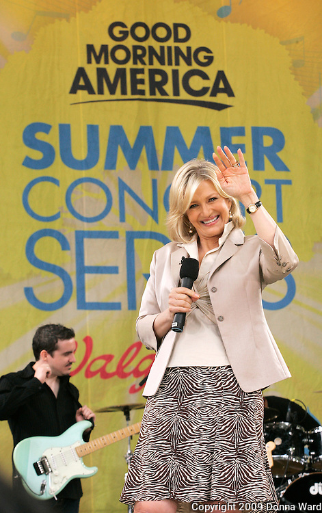 Diane Sawyer appears on stage during ABC's 'Good Morning America' concert series at Central Park's Rumsey Playfield in New York City, USA on June 19, 2009.