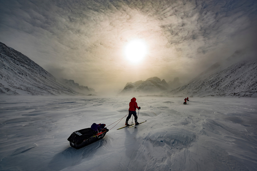 Ski traverse through Akshayuk Pass on Baffin Island in Canada's arctic.