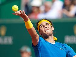 MONTE-CARLO, MONACO - Sunday, April 18, 2010: Rafael Nadal (ESP) during the Men's Singles Final on day seven of the ATP Masters Series Monte-Carlo at the Monte-Carlo Country Club. (Photo by David Rawcliffe/Propaganda)