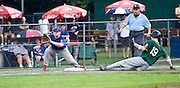 MIDDLETOWN, CT - 05 AUGUST 2010 -.East Longmeadow Post 293's James Christensen waits for a throw as  Warwick, RI's New England Frozen Lemonade's Michael Englert slides safely into third during Thursday's American Legion Northeast Regional Tournament game at Palmer Field in Middletown..Photo by Josalee Thrift