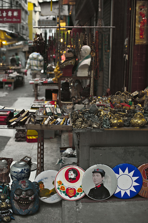 Souvenirs, Mao Zedong memorabilia and antiques for sale at stall on Upper Lascar Row, Hong Kong