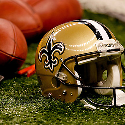 October 3, 2010; New Orleans, LA, USA; A New Orleans Saints helmet on the field during the first quarter of a game against the Carolina Panthers at the Louisiana Superdome. Mandatory Credit: Derick E. Hingle