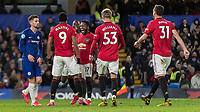 Football - 2019 / 2020 Premier League - Chelsea vs. Manchester United<br /> <br /> Manchester United players congratulate goal  scorer Anthony Martial (Manchester United) at Stamford Bridge <br /> <br /> COLORSPORT/DANIEL BEARHAM
