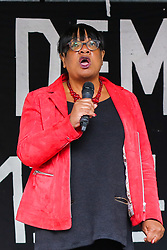 "© Licensed to London News Pictures. 07/09/2019. London, UK.  Diane Abbott MP for Hackney North and Stoke Newington speaks during ""Defend our Democracy and Stop Brexit"" rally in Whitehall, Westminster. The protesters are demonstrating against the British Prime Minister Boris Johnson's intention to prorogue Parliament until 14 October. Photo credit: Dinendra Haria/LNP"