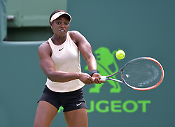 March 29, 2018 - Miami, Florida, U.S. - Sloane Stephens (USA) in action during day 11 of the 2018 Miami Open held at the Crandon Park Tennis Center in Key Biscayne, Florida. (Credit Image: © Andrew Patron via ZUMA Wire)