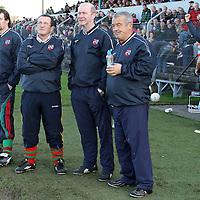 Kilmurry Ibrickane Management Team Shane Callinan (Kitman), Joe Hurley, John Kennedy & Patrick Murrihy await the final whistle at the end of the Co. Football Final. - Photograph by Flann Howard