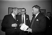 15/11/1965<br /> 11/15/1965<br /> 15 November 1965<br /> Press conference regarding Material handling Exhibition at the Shelbourne Hotel, Dublin. Picture shows (l-r): Mr Desmond Bradley, Vice Chairman of Institute of Materials Handling; Mr Frank Winter and Mr Ernest Lyons.