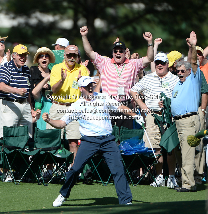 April 12, 2013 - Augusta, Georgia, U.S. - ROBERT GARRIGUS celebrates after a chip-in eagle on the No. 15 green during the second round of the 2013 Masters Tournament at Augusta National Golf Club on Friday.