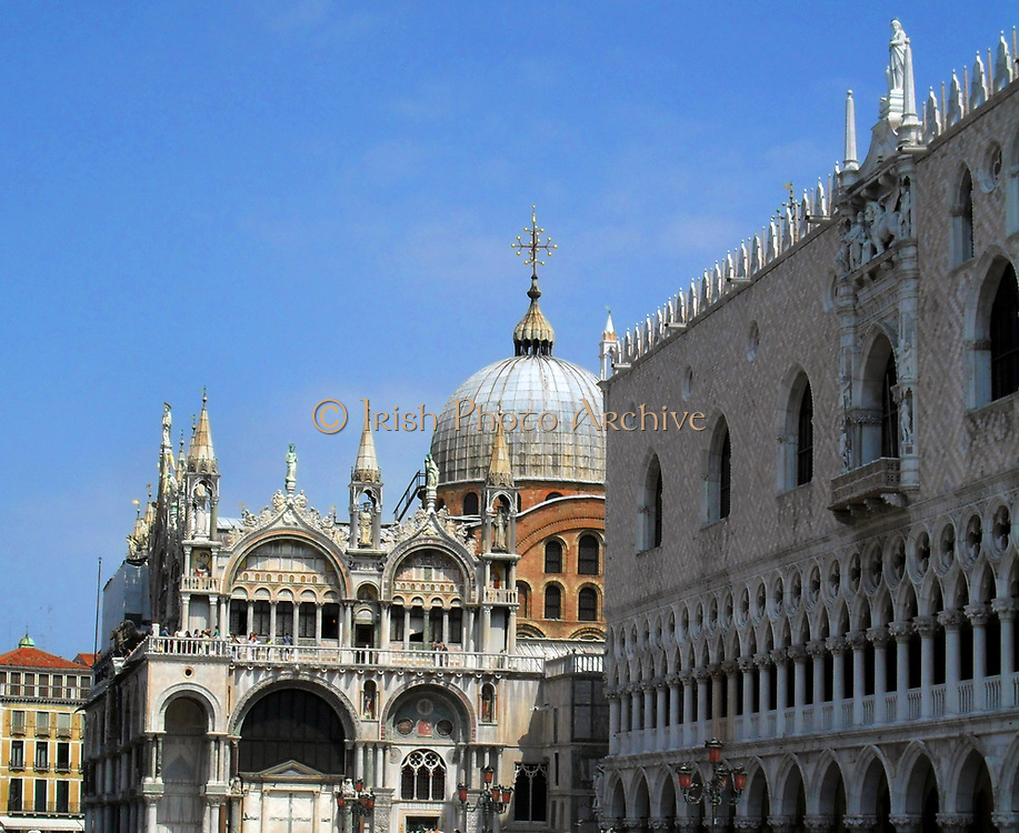 Facade of the Cathedral Basilica of Saint Mark (known as Saint Mark's Basilica), Venice, Italy. An outstanding example of Byzantine architecture. The basilica was consecrated in 1094, the same year in which the body of Saint Mark was supposedly rediscovered in a pillar by Vitale Faliero, doge at the time.