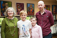 Denise O'Sullivan, Chareleville with grand Children Tadgh and Liam O'Sullivan and Son  at Frank O&rsquo;Sullivan whose Exhibition of new work opening at the Town Hall Theatre Galway which runs till Wed the 15th of June. <br />  . Photo:Andrew Downes, xposure