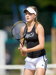 LIVERPOOL, ENGLAND - Tuesday, June 16, 2009: Eugenie Bouchard (CAN) practices before the Tradition ICAP Liverpool International Tennis Tournament 2009 at Calderstones Park. (Pic by David Rawcliffe/Propaganda)