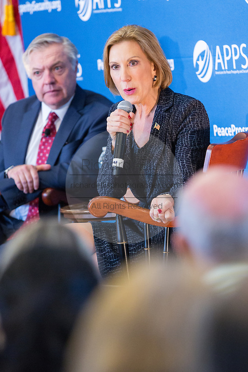 Former CEO and GOP presidential hopeful Carly Fiorina answers a question during at the National Security Forum with the Americans for Peace, Prosperity and Security at the Citadel Military College September 22, 2015 in Charleston, South Carolina.