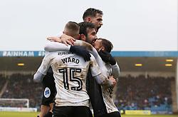 Danny Lloyd of Peterborough United celebrates scoring his goal with team-mates - Mandatory by-line: Joe Dent/JMP - 10/02/2018 - FOOTBALL - MEMS Priestfield Stadium - Gillingham, England - Gillingham v Peterborough United - Sky Bet League One