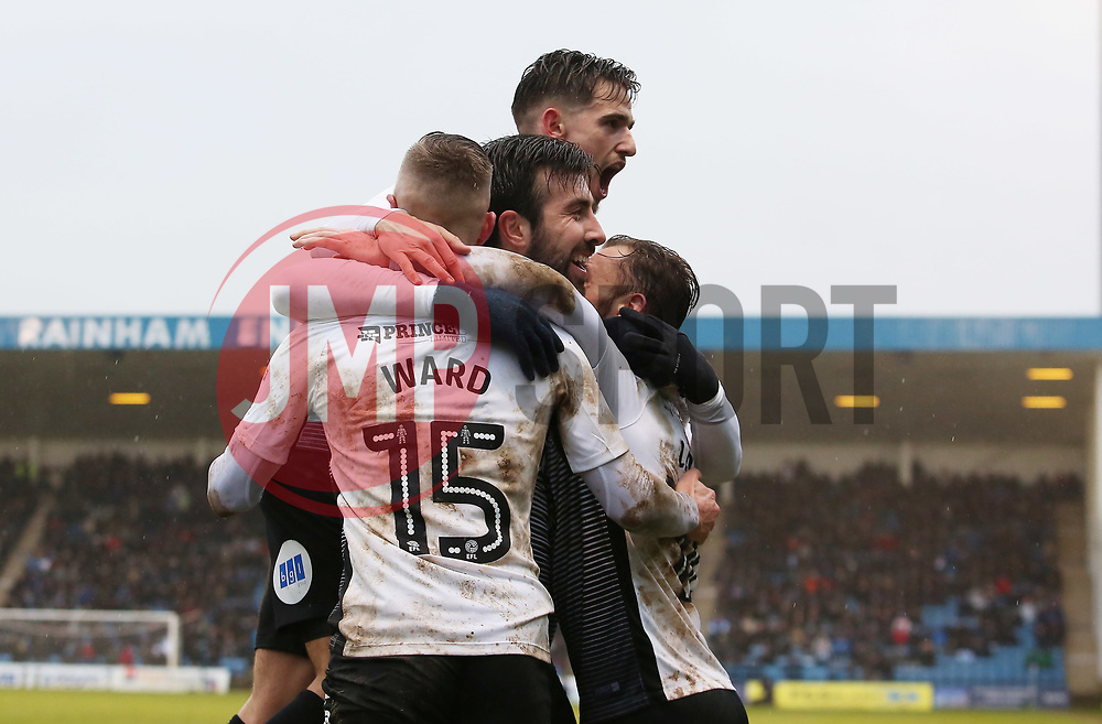 Danny Lloyd of Peterborough United celebrates scoring his goal with team-mates - Mandatory by-line: Joe Dent/JMP - 10/02/2018 - FOOTBALL - MEMS Priestfield Stadium - Gillingham, England - Gillingham v Peterborough United - Sky Bet League One