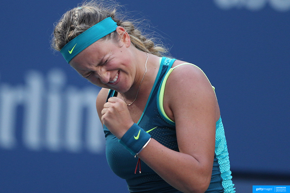Victoria Azarenka, Belarus, in action against Angelique Kerber, Germany,  during the US Open Tennis Tournament, Flushing, New York, USA. 5th September 2015. Photo Tim Clayton