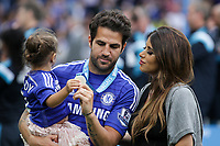 Football - 2014 / 2015 Premier League - Chelsea vs. Sunderland.   <br /> <br /> Chelsea's Cesc Fàbregas with his wife and child at Stamford Bridge. <br /> <br /> COLORSPORT/DANIEL BEARHAM