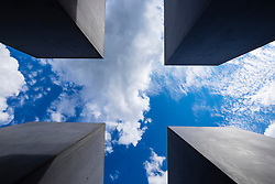 View looking up of blocks at  Holocaust Memorial (Memorial to the Murdered Jews of Europe) in Berlin Germany