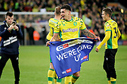 Norwich City midfielder Ben Godfrey (4)  celebrates after the EFL Sky Bet Championship match between Norwich City and Blackburn Rovers at Carrow Road, Norwich, England on 27 April 2019.