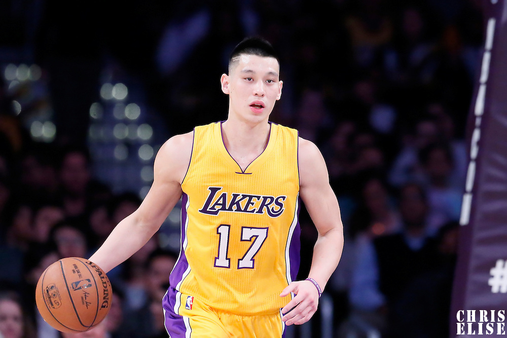 10 February 2015: Los Angeles Lakers guard Jeremy Lin (17) brings the ball up court during the Denver Nuggets 106-96 victory over the Los Angeles Lakers, at the Staples Center, Los Angeles, California, USA.