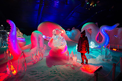© Licensed to London News Pictures. 16/11/2017. London, UK. Gabriella Nijjer aged 6 views a large octopus ice sculpture display showing as part of the Deep Sea Adventure. The Magical Ice Kingdom is the largest indoor ice and snow sculpture experience in Europe and part of the Hyde Park Winter Wonderland. Photo credit: Ray Tang/LNP