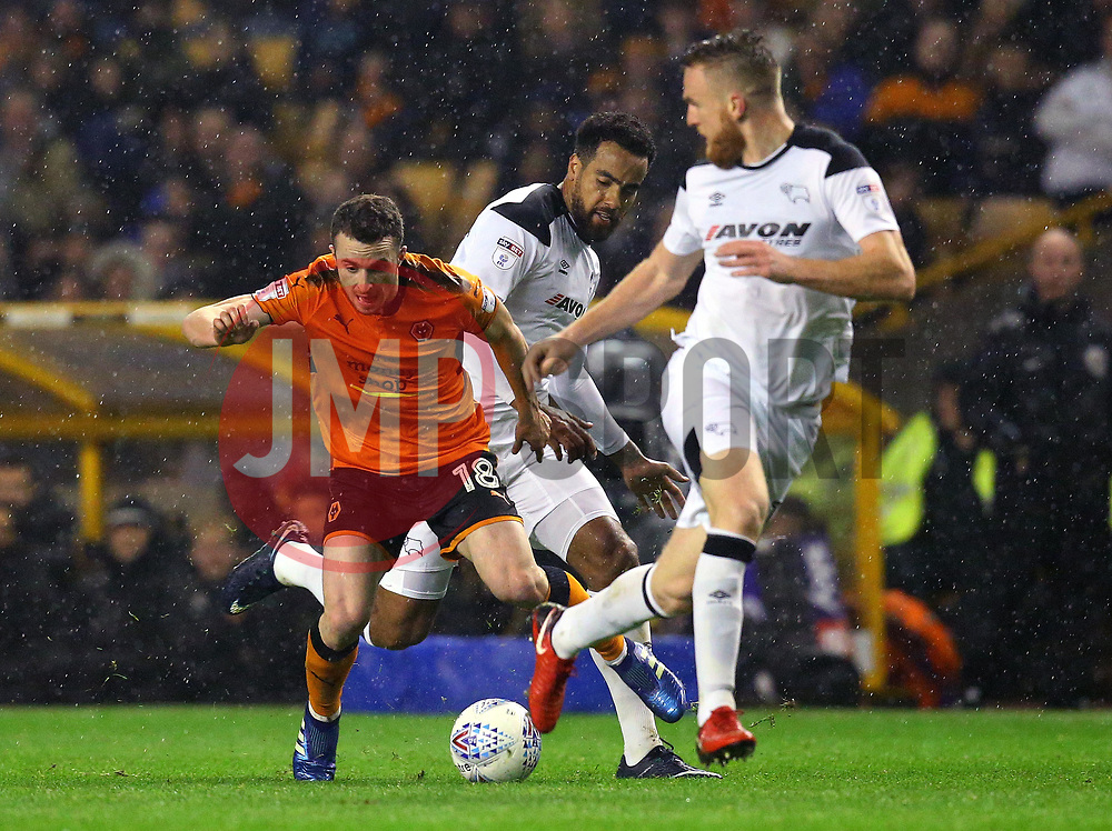 Diogo Jota of Wolverhampton Wanderers takes on Tom Huddlestone of Derby County and Alex Pearce of Derby County - Mandatory by-line: Robbie Stephenson/JMP - 11/04/2018 - FOOTBALL - Molineux - Wolverhampton, England - Wolverhampton Wanderers v Derby County - Sky Bet Championship