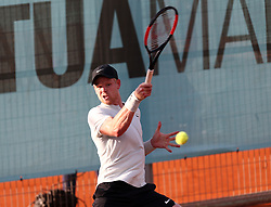 May 8, 2018 - Madrid, Spain - Kyle Edmund of Great Britain returns the ball to Daniel Medvedev of Russia in the 2nd Round match during day four of the Mutua Madrid Open tennis tournament at the Caja Magica. (Credit Image: © Manu Reino/SOPA Images via ZUMA Wire)