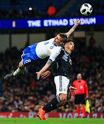 Marco Verratti of Italy challenges Manuel Lanzini of Argentina - Mandatory by-line: Matt McNulty/JMP - 23/03/2018 - FOOTBALL - Etihad Stadium - Manchester, England - Argentina v Italy - International Friendly