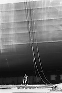 A ship launch at Kvaerner shipbuilding yard, on the River Clyde, Glasgow, Scotland, June 1993.