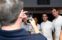 Aden Flint and Bobby Reid of Bristol City pose for a picture with guests at the Lansdown Club event - Mandatory by-line: Robbie Stephenson/JMP - 06/09/2016 - GENERAL SPORT - Ashton Gate - Bristol, England - Lansdown Club -
