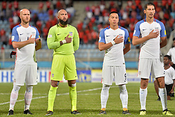 October 10, 2017 - Couva, Caroni County, Trinidad & Tobago - Couva, Trinidad & Tobago - Tuesday Oct. 10, 2017: Michael Bradley, Tim Howard, Bobby Wood, Omar Gonzalez during a 2018 FIFA World Cup Qualifier between the men's national teams of the United States (USA) and Trinidad & Tobago (TRI) at Ato Boldon Stadium. (Credit Image: © John Todd/ISIPhotos via ZUMA Wire)