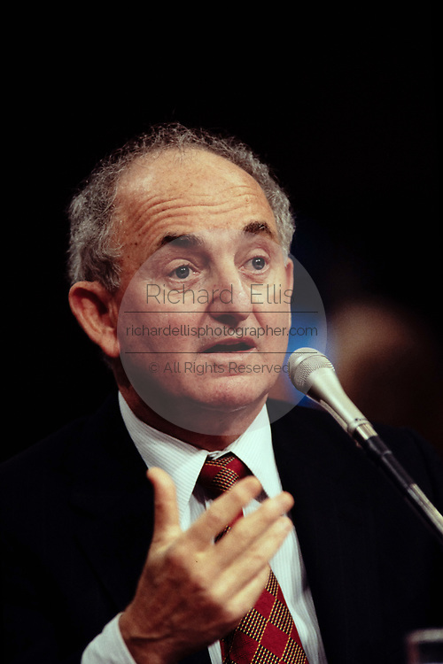 Former White House counsel Bernard Nussbaum testifies in his second day of testimony to the Senate Whitewater Committee on Capitol Hill August 10, 1995 in Washington, DC.