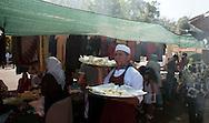 Roma 30 Agosto 2011.Il mercato con i cibi  del mondo arabo fuori alla grande Moschea di Roma..