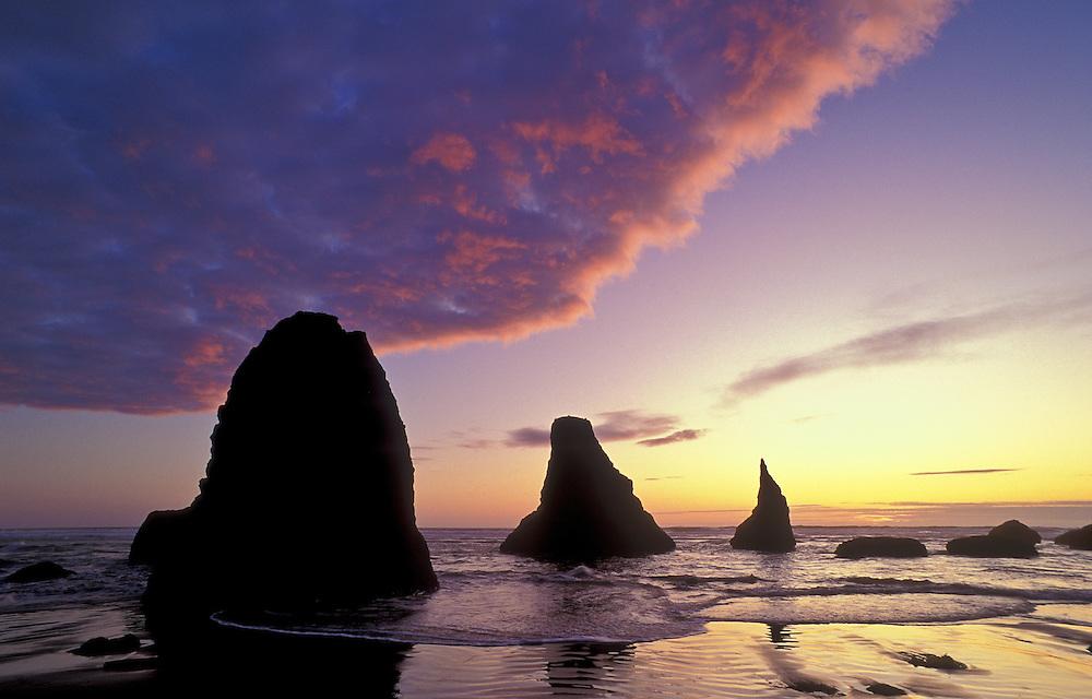 Sea stacks at sunset, Bandon Beach, Oregon coast.