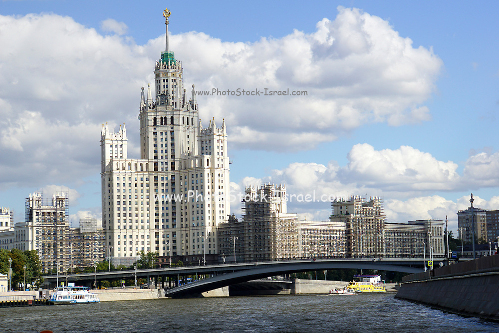 River cruise, Moscow, Russia Highrise tower