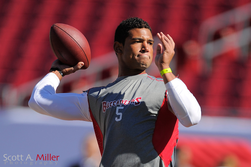 Tampa Bay Buccaneers quarterback Josh Freeman (5) prior to the Bucs game against the Atlanta Falcons at Raymond James on November 25, 2012 in Tampa, Florida. ...©2012 Scott A. Miller.