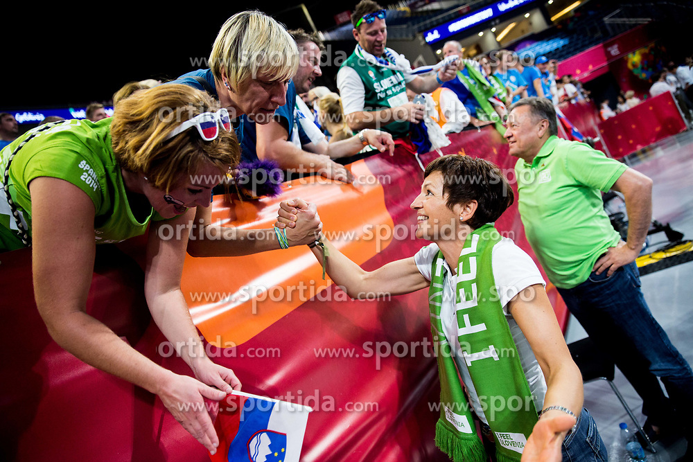 Fans and Maja Makovec Brencic celebrate after winning during basketball match between National Teams of Slovenia and Spain at Day 15 in Semifinal of the FIBA EuroBasket 2017 at Sinan Erdem Dome in Istanbul, Turkey on September 14, 2017. Photo by Vid Ponikvar / Sportida