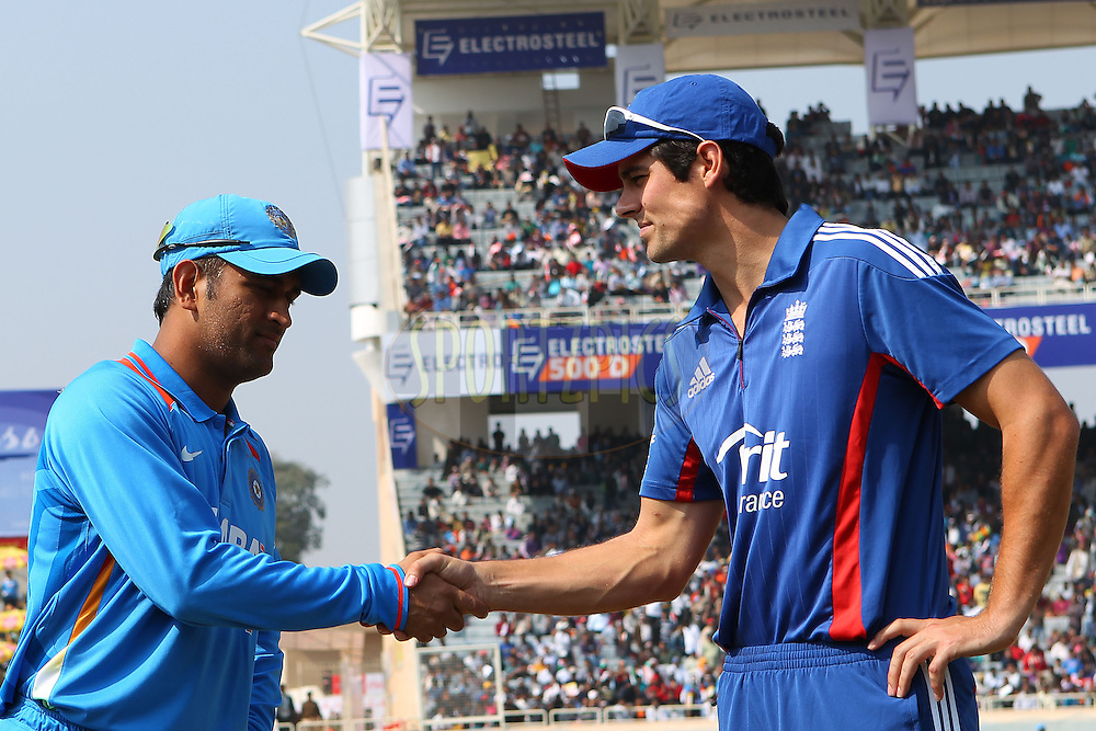 MS Dhoni of India and Alastair Cook of England shake hands after the toss during the 3rd Airtel ODI Match between India and England held at the JSCA International Stadium Complex, Ranchi, India on the 19th January 2013..Photo by Ron Gaunt/BCCI/SPORTZPICS ..Use of this image is subject to the terms and conditions as outlined by the BCCI. These terms can be found by following this link:..http://www.sportzpics.co.za/image/I0000SoRagM2cIEc