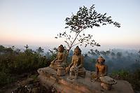 Buddha statues on a hilltop, Mrauk-U, Rakhine State, Myanmar
