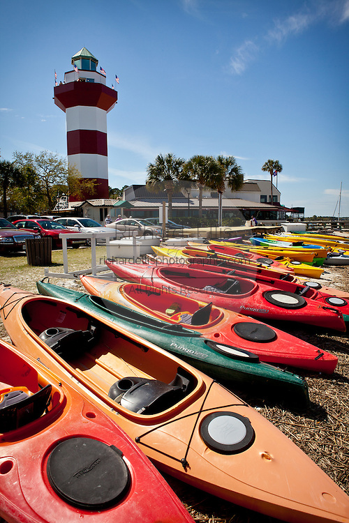 Kayaks and Harbour Town Lighthouse at Sea Pines Resort Hilton Head Island, GA.
